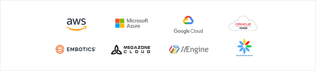 Cloud 생태계 구축 업체 : aws, Microsoft Azure, Google cloud, ORACLE Clout, EMBOTICS, slalom, Pivotal, MEGAZONE CLOUD, uEngine, Beyond Advisory Service